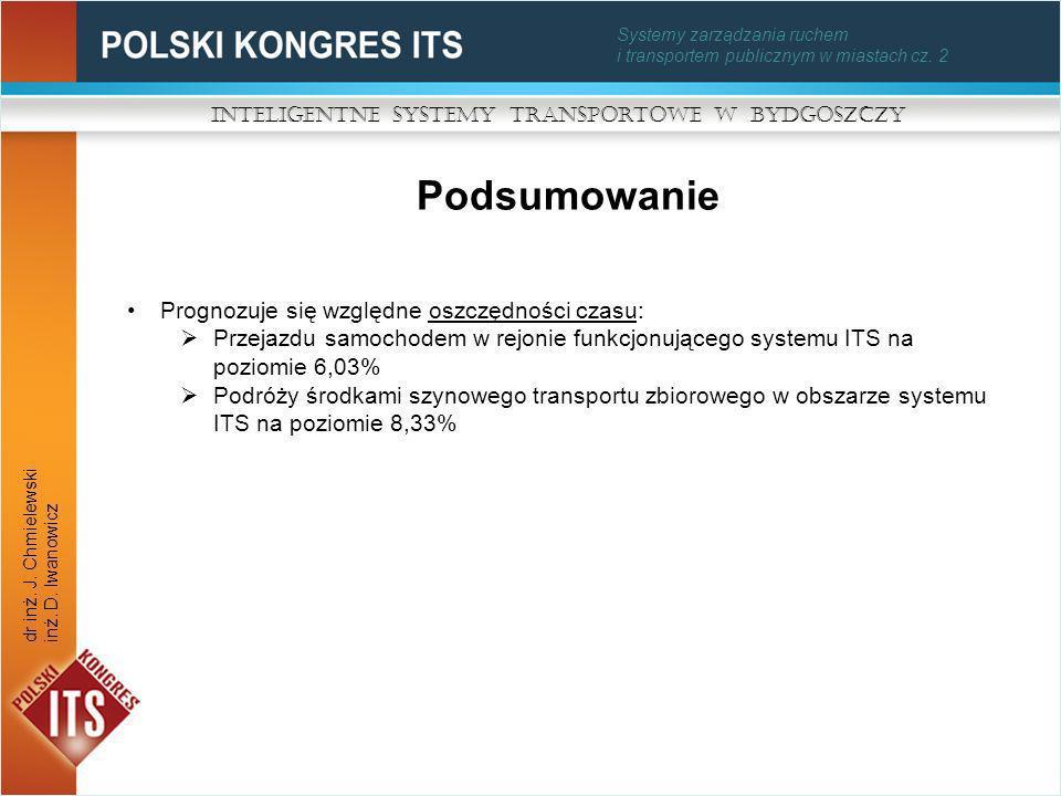 Systemy zarządzania ruchem i transportem publicznym w miastach cz. 2 Podsumowanie Inteligentne Systemy Transportowe w Bydgoszczy dr inż. J. Chmielewsk