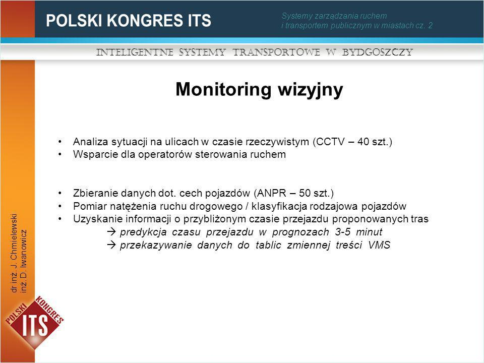 Analiza sytuacji na ulicach w czasie rzeczywistym (CCTV – 40 szt.) Wsparcie dla operatorów sterowania ruchem Zbieranie danych dot. cech pojazdów (ANPR