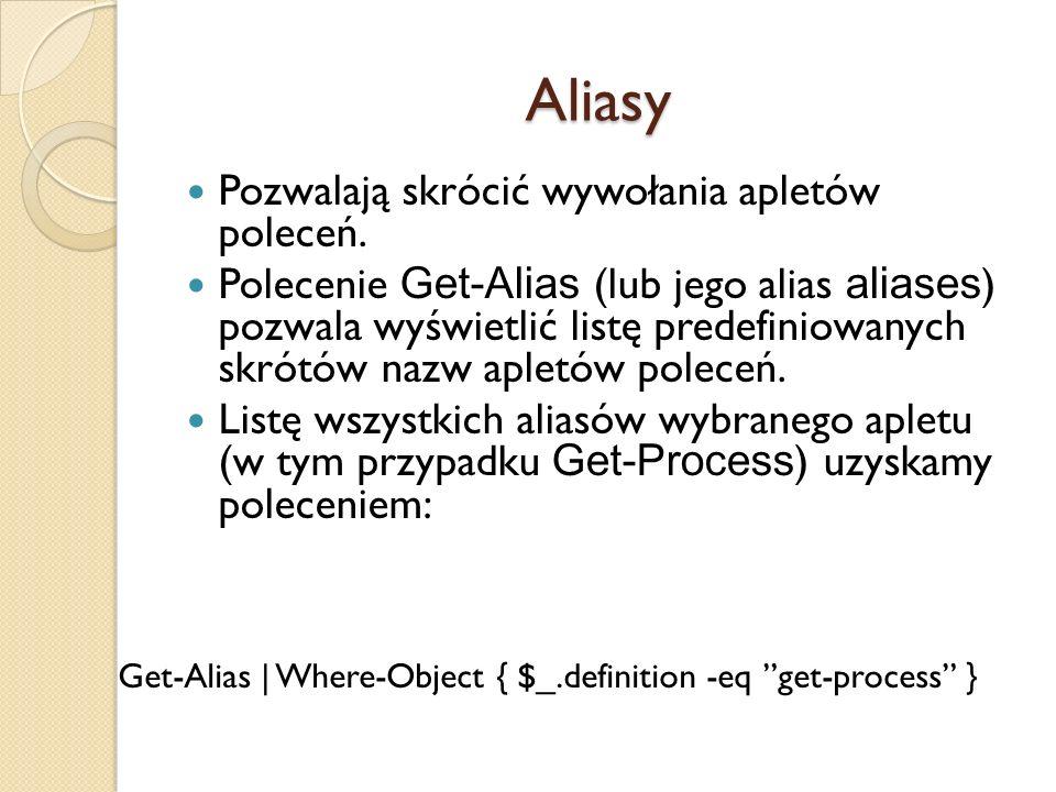 Aliasy Pozwalają skrócić wywołania apletów poleceń. Polecenie Get-Alias (lub jego alias aliases ) pozwala wyświetlić listę predefiniowanych skrótów na