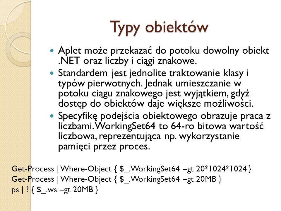 Typy obiektów Aplet może przekazać do potoku dowolny obiekt.NET oraz liczby i ciągi znakowe. Standardem jest jednolite traktowanie klasy i typów pierw