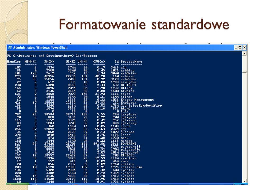 Formatowanie standardowe Jeżeli potoku nie kończy wywołanie funkcji formatującej, WPS automatycznie przekazuje dane apletowi Out-Default. Predefiniowa