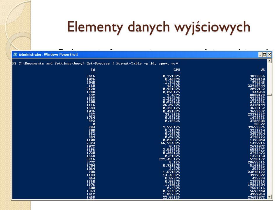 Elementy danych wyjściowych Polecenia formatujące pozwalają wybierać właściwości do wyświetlania: Nazwy właściwości można skracać stosując symbol wiel