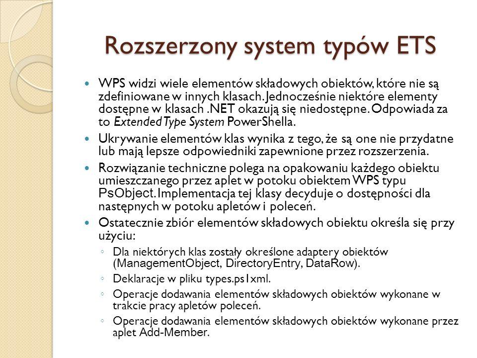 Rozszerzony system typów ETS WPS widzi wiele elementów składowych obiektów, które nie są zdefiniowane w innych klasach. Jednocześnie niektóre elementy