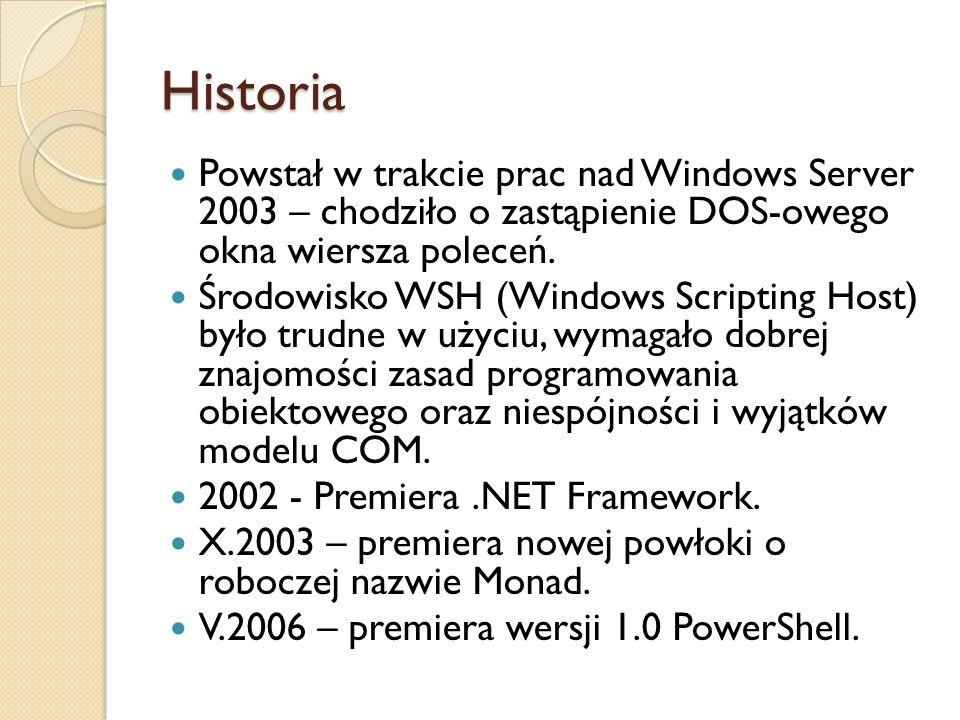 Historia Powstał w trakcie prac nad Windows Server 2003 – chodziło o zastąpienie DOS-owego okna wiersza poleceń. Środowisko WSH (Windows Scripting Hos