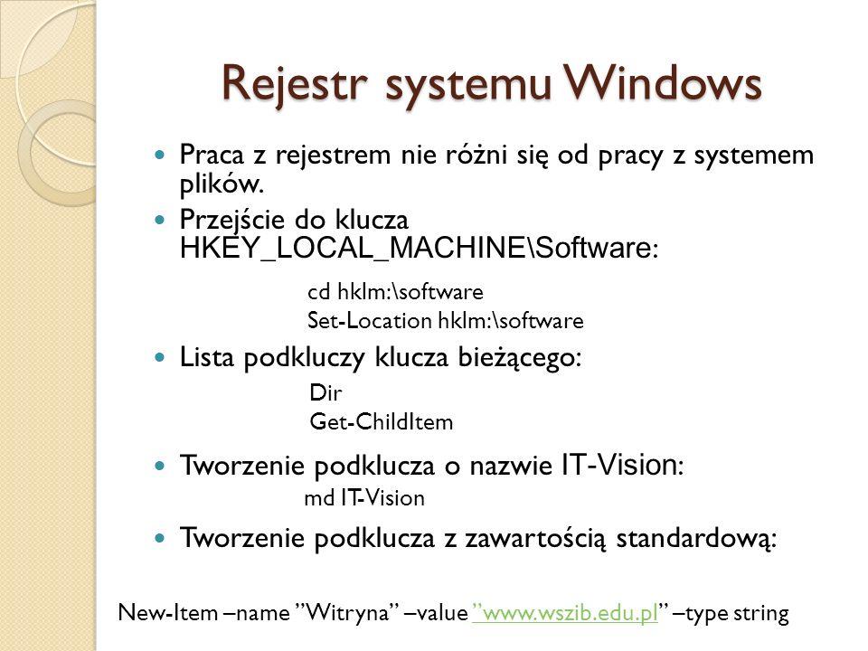 Rejestr systemu Windows Praca z rejestrem nie różni się od pracy z systemem plików. Przejście do klucza HKEY_LOCAL_MACHINE \ Software : Lista podklucz