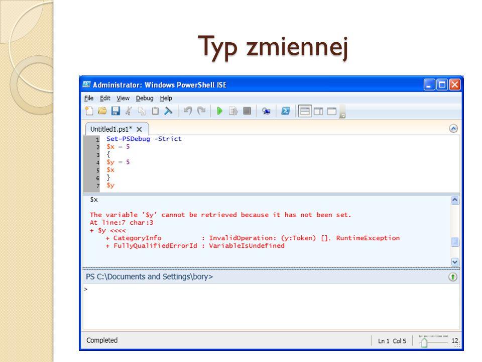 Typ zmiennej W chwili przypisania wartości następuje niejawne zadeklarowanie zmiennej. Jeśli jednak typy zmiennych nie są deklarowane, mogą pojawić si