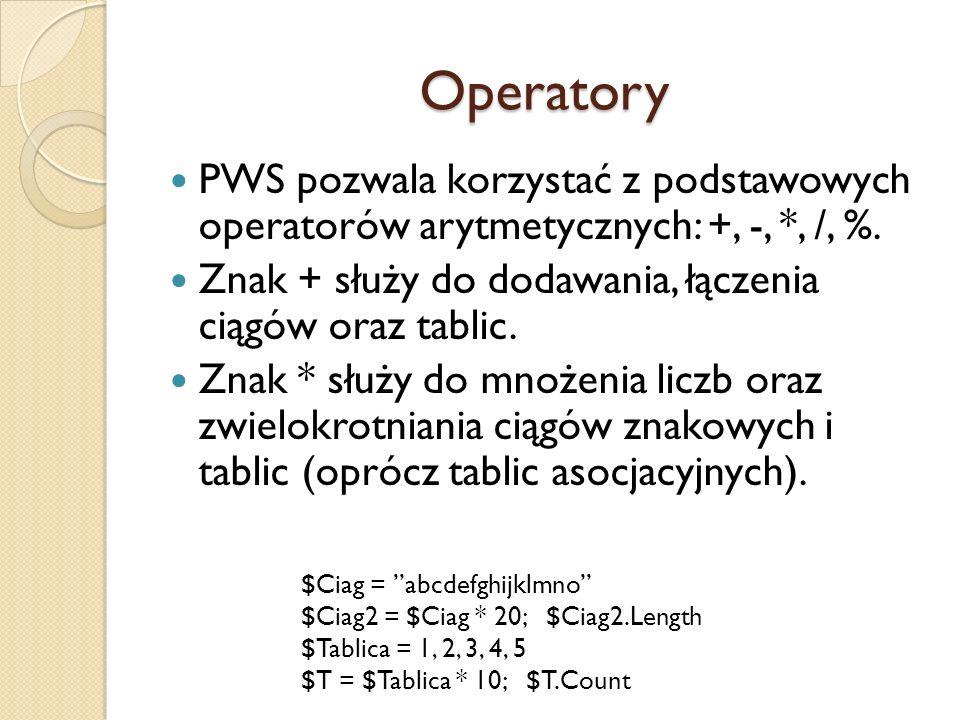 Operatory PWS pozwala korzystać z podstawowych operatorów arytmetycznych: +, -, *, /, %. Znak + służy do dodawania, łączenia ciągów oraz tablic. Znak