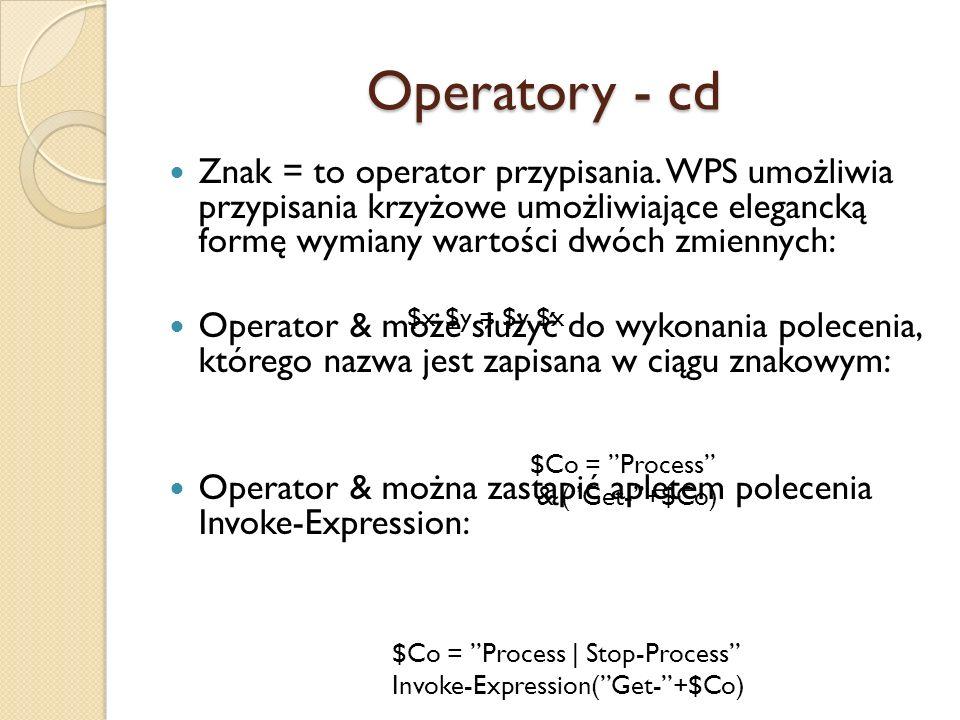 Operatory - cd Znak = to operator przypisania. WPS umożliwia przypisania krzyżowe umożliwiające elegancką formę wymiany wartości dwóch zmiennych: Oper