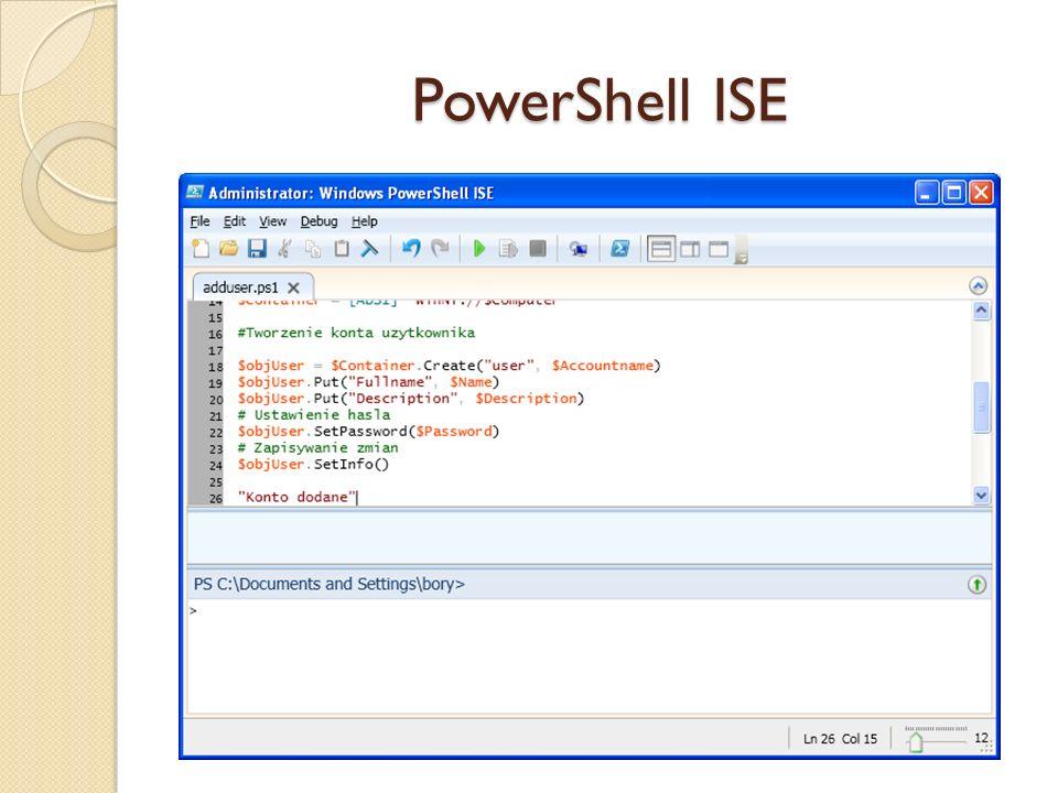 Aplety poleceń do nawigacji w repozytoriach danych Aplet poleceniaAliasyOpis Get-ChildItemdir, lsLista obiektów podrzędnych Get-Cwdcd, pwdZmiana katalogu bieżącego Get-Contenttype, catWywołanie zawartości elementu New-ItemmkdirTworzenie elementu (gałęzi lub liścia) Get-LocationInformacja o katalogu bieżącym Set-LocationcdZmiana katalogu bieżącego Get-Content c:\tmp\pamm.c