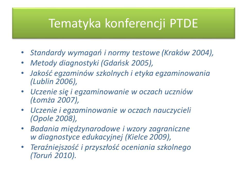 Tematyka konferencji PTDE Standardy wymagań i normy testowe (Kraków 2004), Metody diagnostyki (Gdańsk 2005), Jakość egzaminów szkolnych i etyka egzami