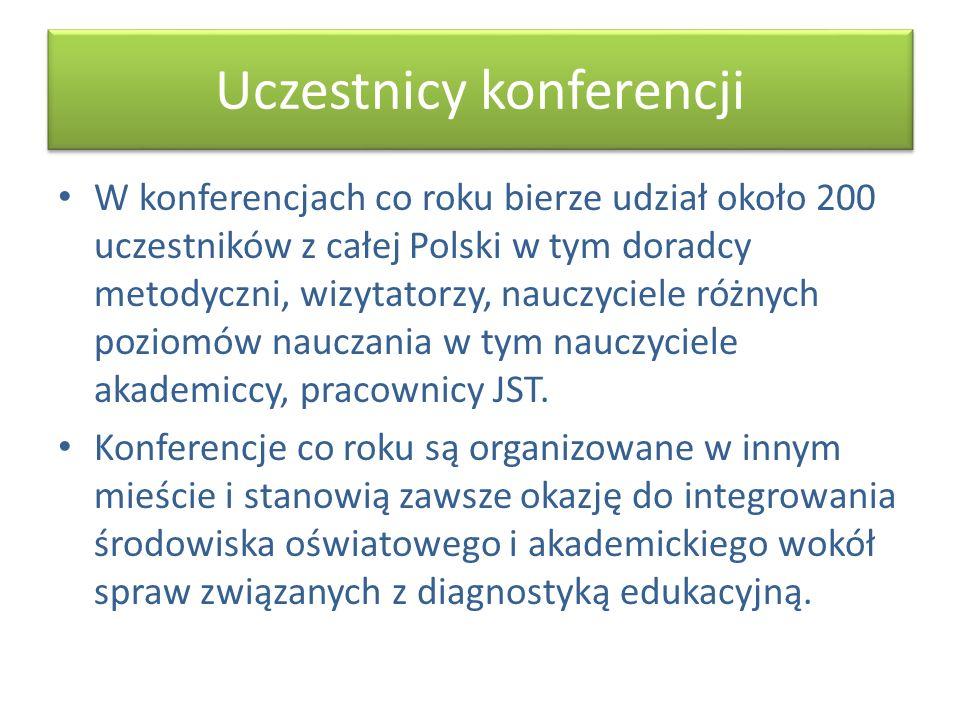 Uczestnicy konferencji W konferencjach co roku bierze udział około 200 uczestników z całej Polski w tym doradcy metodyczni, wizytatorzy, nauczyciele r