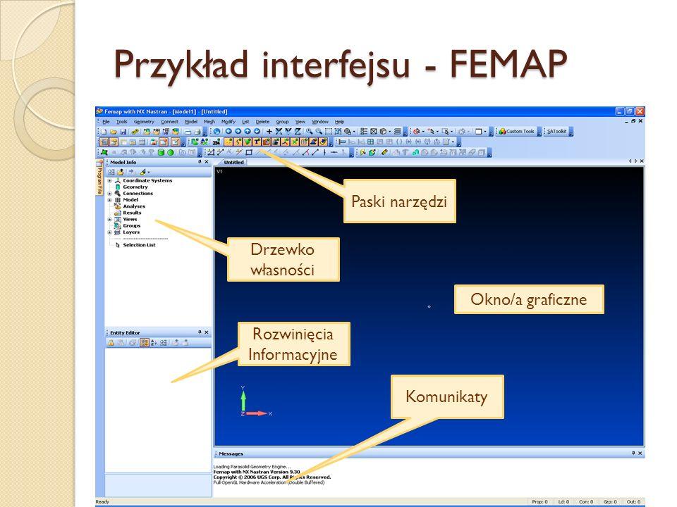 Przykład interfejsu - FEMAP Paski narzędzi Drzewko własności Rozwinięcia Informacyjne Komunikaty Okno/a graficzne