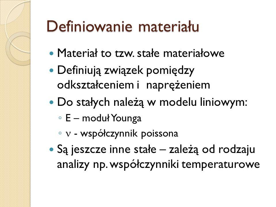 Definiowanie materiału Materiał to tzw. stałe materiałowe Definiują związek pomiędzy odkształceniem i naprężeniem Do stałych należą w modelu liniowym: