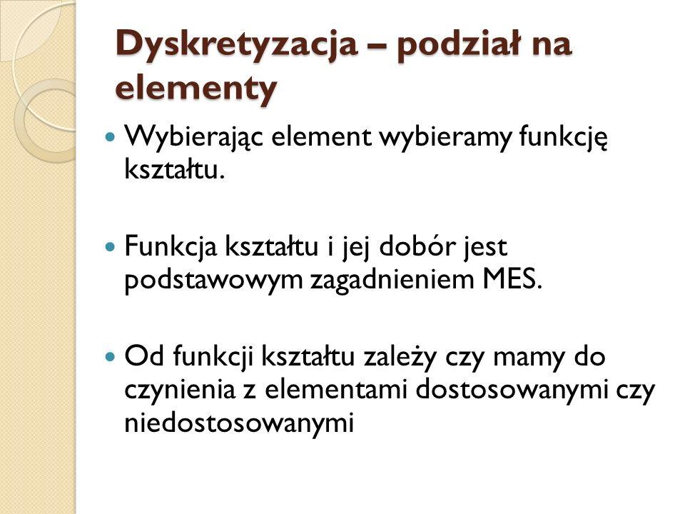 Dyskretyzacja – podział na elementy Wybierając element wybieramy funkcję kształtu. Funkcja kształtu i jej dobór jest podstawowym zagadnieniem MES. Od