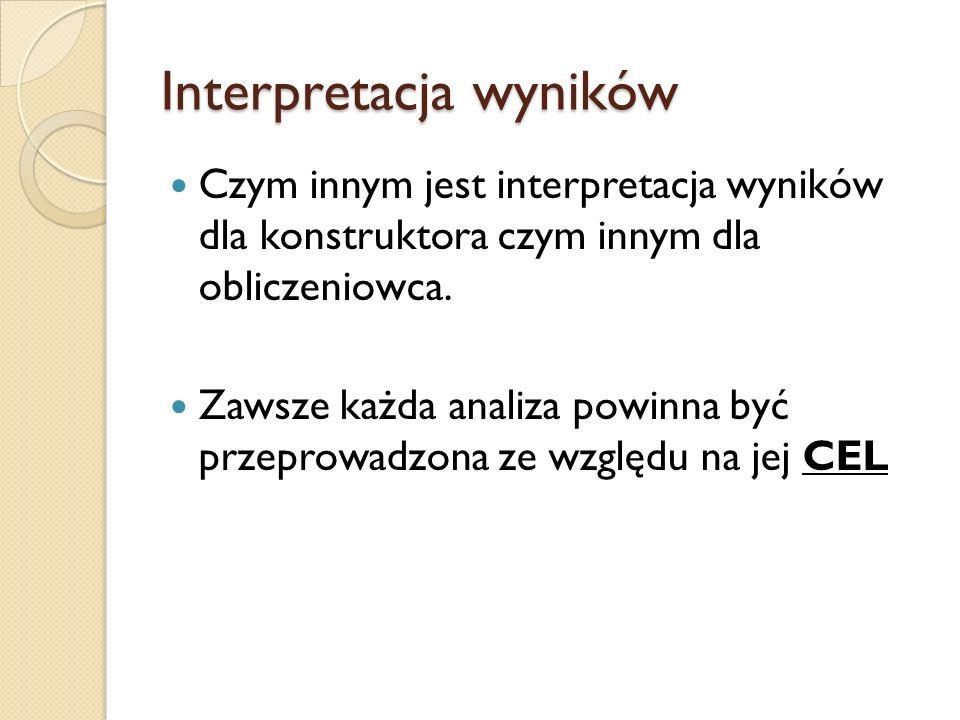 Interpretacja wyników Czym innym jest interpretacja wyników dla konstruktora czym innym dla obliczeniowca. Zawsze każda analiza powinna być przeprowad