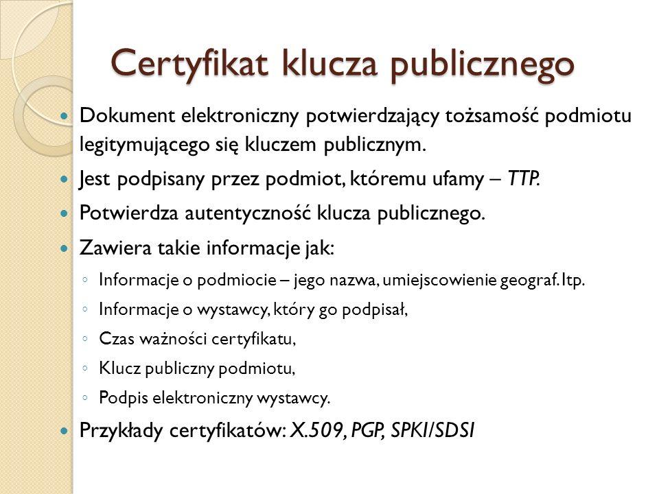 Standard X.509 X.509 – standard ITU-T (International Telecommunication Union w Genewie) wywodzący się ze standardu X.500 Opisuje certyfikaty i sposób zarządzania nimi w PKI Umożliwiający stworzenie hierarchicznej struktury powiązanych z sobą CA - w odróżnieniu od Web of Trust.