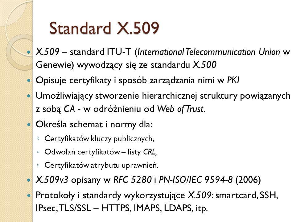 Standard X.509 a X.500 Standard X.509 wchodzi w skład grupy dotyczącej usług katalogowych i wywodzących się z protokołu X.500.