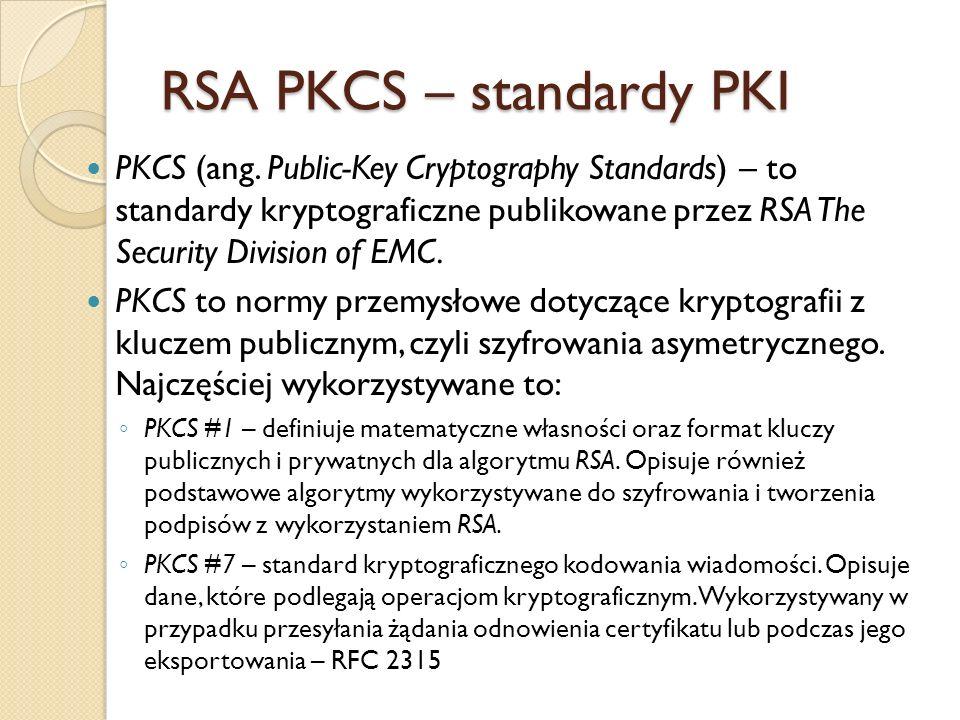 RSA PKCS – standardy PKI c.d.
