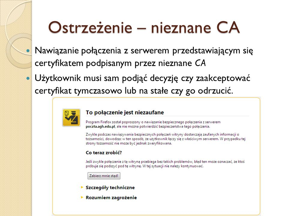 Niezgodność DN z FQDN Różnicy w adresie z polem DN certyfikatu – niewłaściwa witryna: