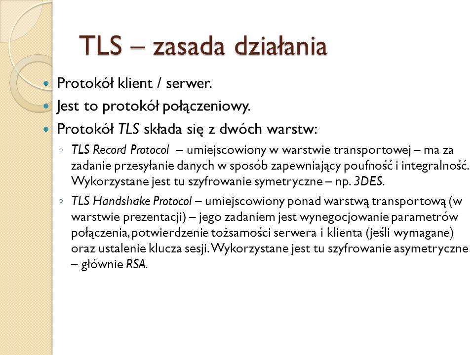 TLS Record Protocol zapewnia bezpieczne połączenie posiadające następujące cechy: Prywatność – przesyłane dane są szyfrowane w sposób symetryczny (RC4, DES, 3DES, itp) z wykorzystaniem unikalnego klucza.