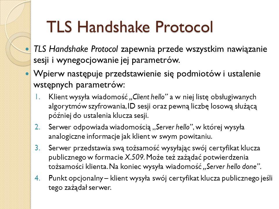 Następnie jest ustalenie klucza sesji do szyfrowania transmisji: 1.Klient wysyła wiadomość Key exchange, a w niej wygenerowany losowo 48-bitowy (w przypadku RSA) premaster key zaszyfrowany kluczem publicznym serwera.
