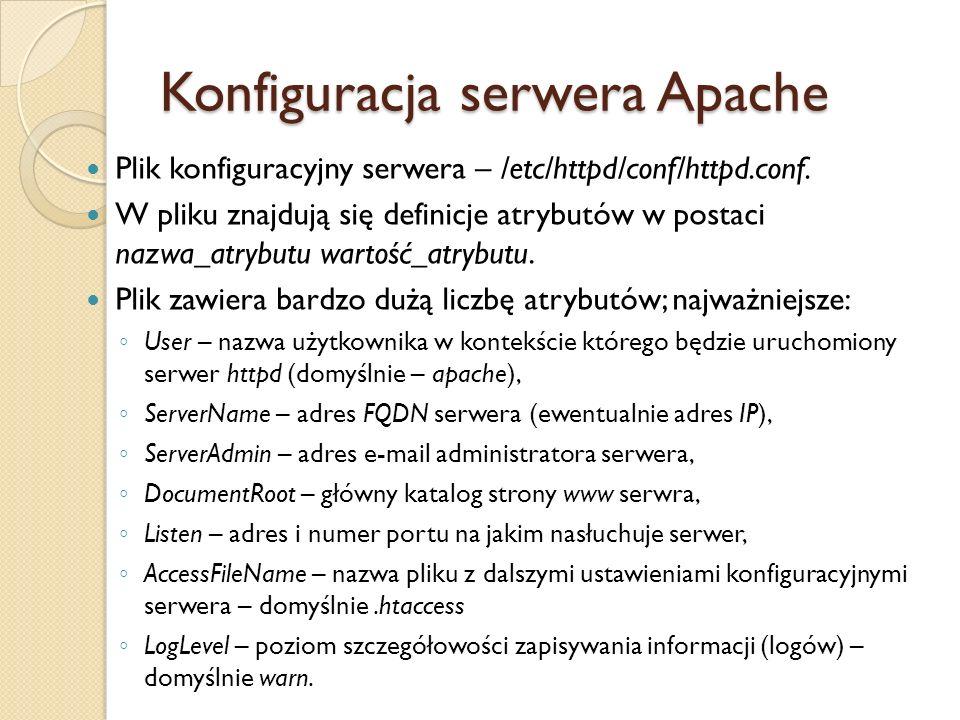 Plik zawiera również definicje sekcji takich jak IfModule, Directory, Files, Proxy czy VirtualHost.