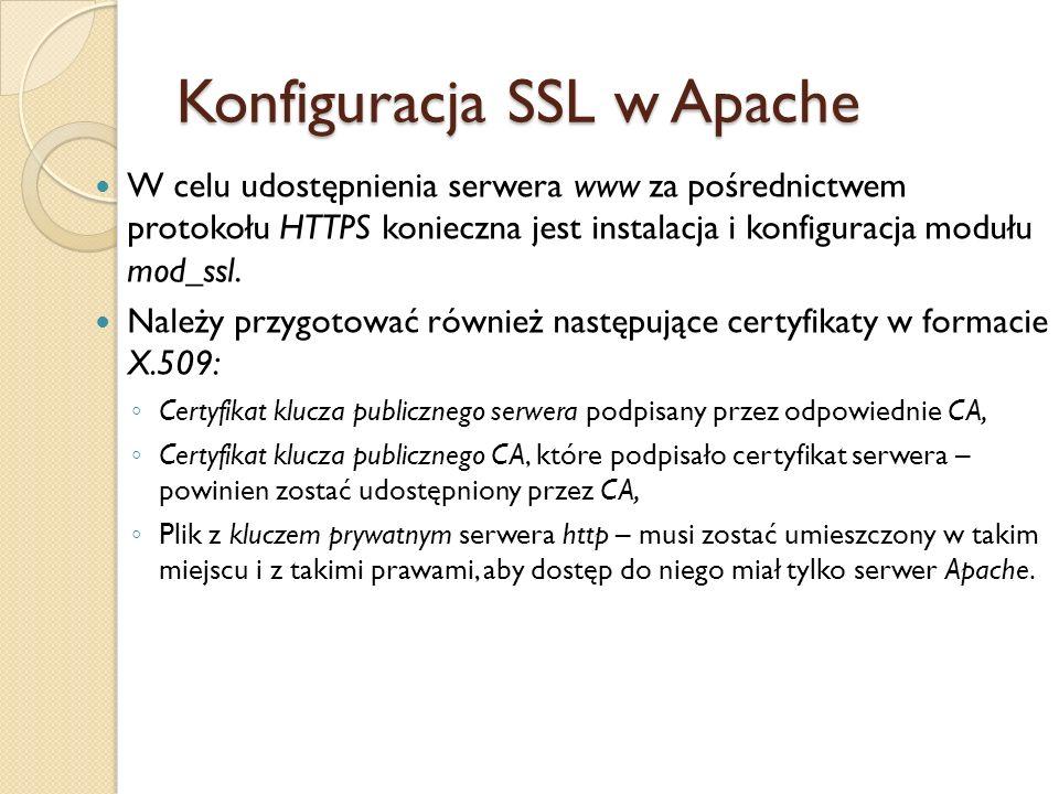 Konfiguracja modułu mod_ssl znajduje się standardowo w pliku /etc/httpd/conf.d/ssl.conf Składnia jest analogiczna jak konfiguracyjnego serwera.