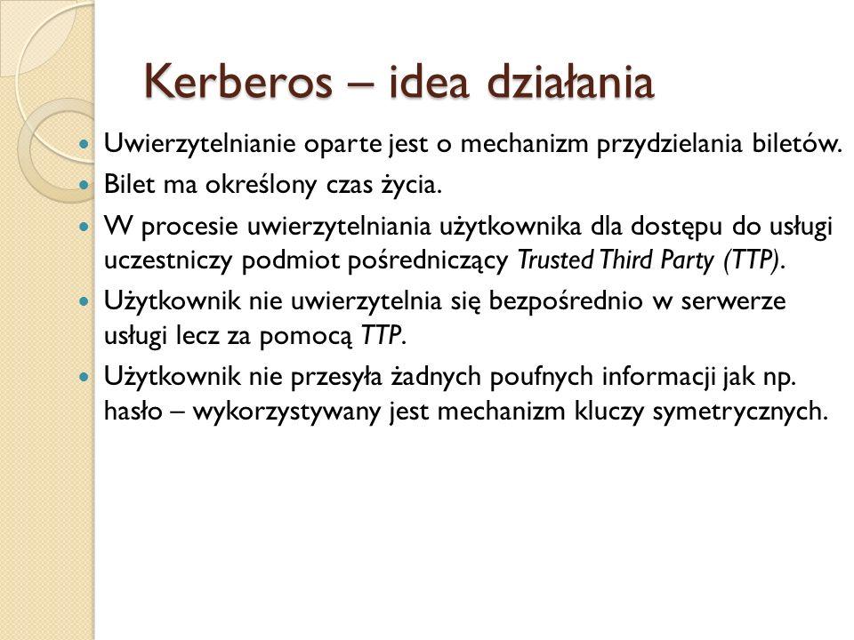 Kerberos – idea działania Uwierzytelnianie oparte jest o mechanizm przydzielania biletów. Bilet ma określony czas życia. W procesie uwierzytelniania u
