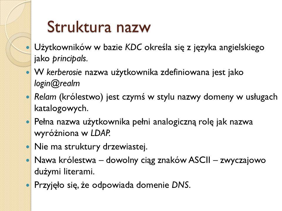 Struktura nazw Użytkowników w bazie KDC określa się z języka angielskiego jako principals. W kerberosie nazwa użytkownika zdefiniowana jest jako login