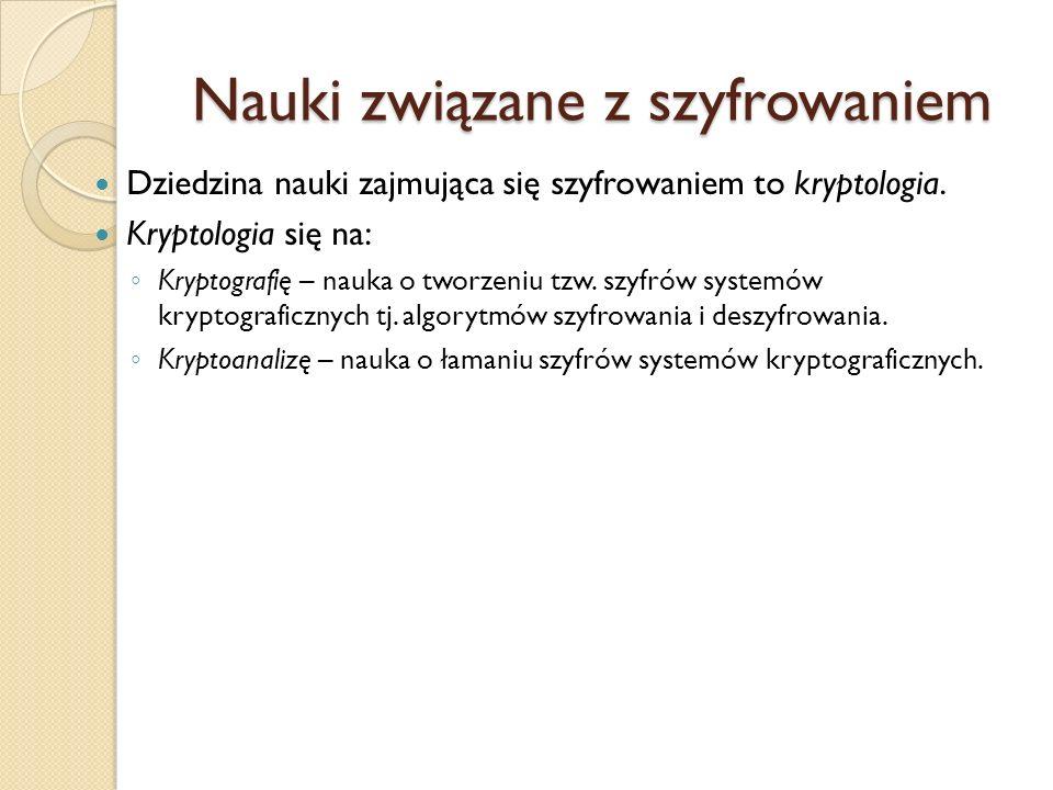 Nauki związane z szyfrowaniem Dziedzina nauki zajmująca się szyfrowaniem to kryptologia. Kryptologia się na: Kryptografię – nauka o tworzeniu tzw. szy