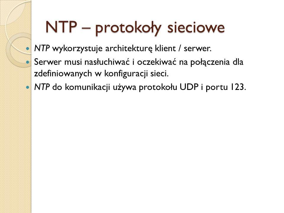 NTP – protokoły sieciowe NTP wykorzystuje architekturę klient / serwer. Serwer musi nasłuchiwać i oczekiwać na połączenia dla zdefiniowanych w konfigu