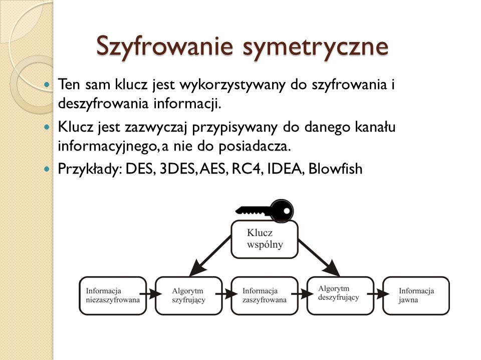 Szyfrowanie symetryczne Ten sam klucz jest wykorzystywany do szyfrowania i deszyfrowania informacji. Klucz jest zazwyczaj przypisywany do danego kanał