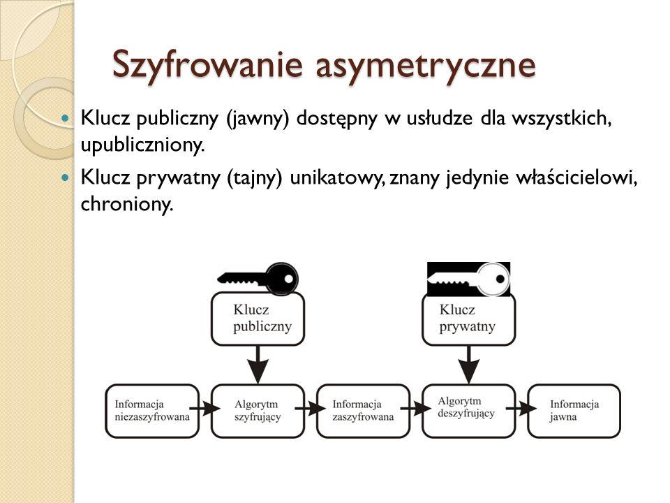 Szyfrowanie asymetryczne Klucz publiczny (jawny) dostępny w usłudze dla wszystkich, upubliczniony. Klucz prywatny (tajny) unikatowy, znany jedynie wła