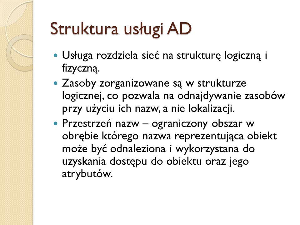 Struktura usługi AD Usługa rozdziela sieć na strukturę logiczną i fizyczną. Zasoby zorganizowane są w strukturze logicznej, co pozwala na odnajdywanie
