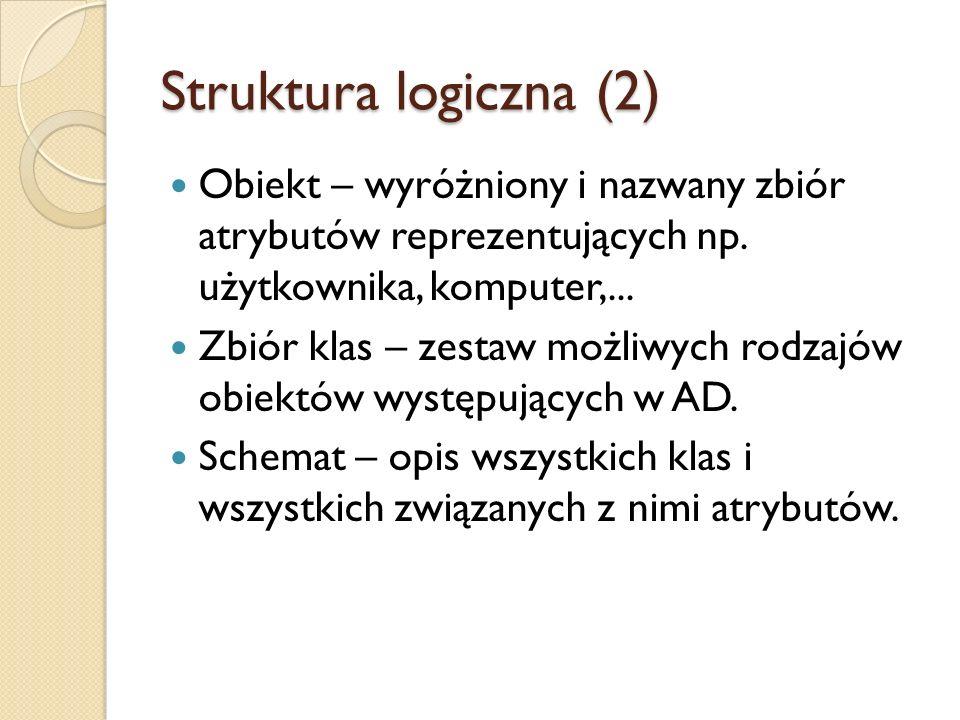 Struktura logiczna (2) Obiekt – wyróżniony i nazwany zbiór atrybutów reprezentujących np. użytkownika, komputer,... Zbiór klas – zestaw możliwych rodz