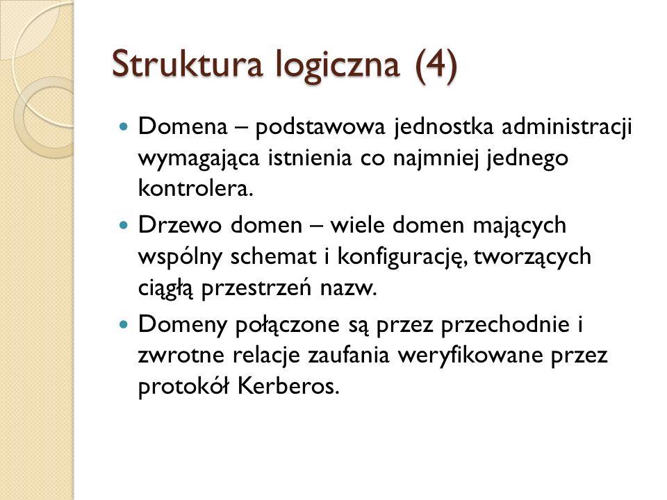 Struktura logiczna (4) Domena – podstawowa jednostka administracji wymagająca istnienia co najmniej jednego kontrolera. Drzewo domen – wiele domen maj