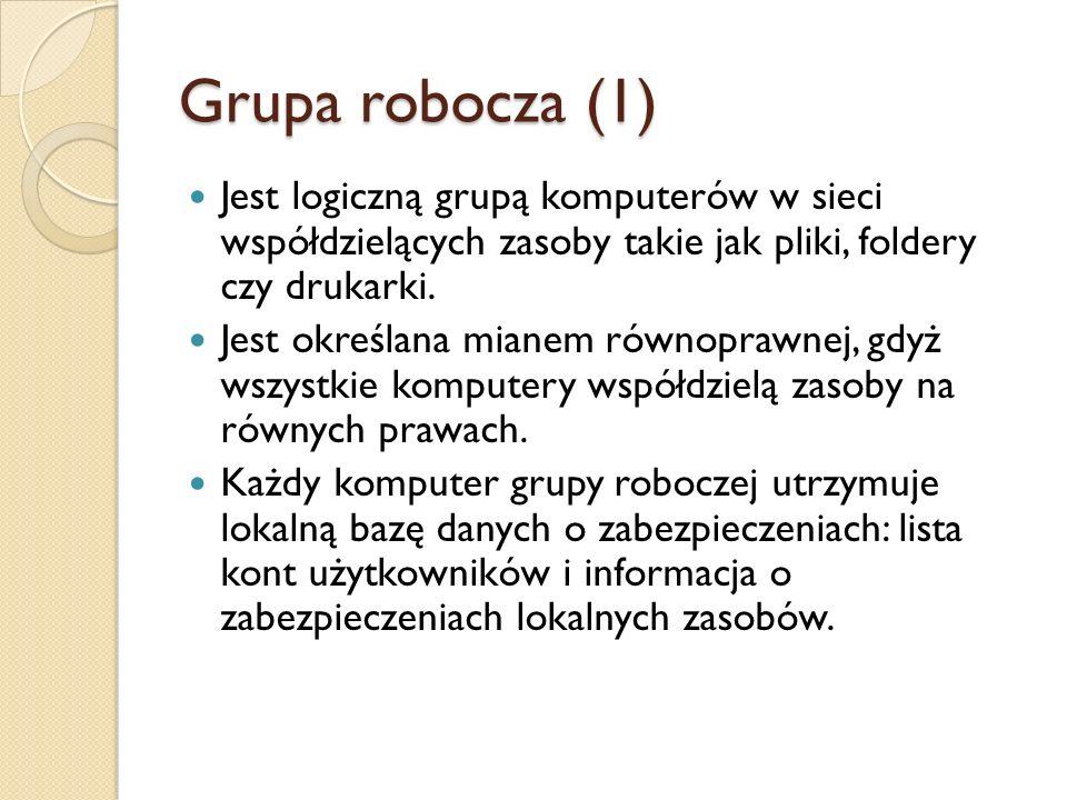 Grupa robocza (1) Jest logiczną grupą komputerów w sieci współdzielących zasoby takie jak pliki, foldery czy drukarki. Jest określana mianem równopraw