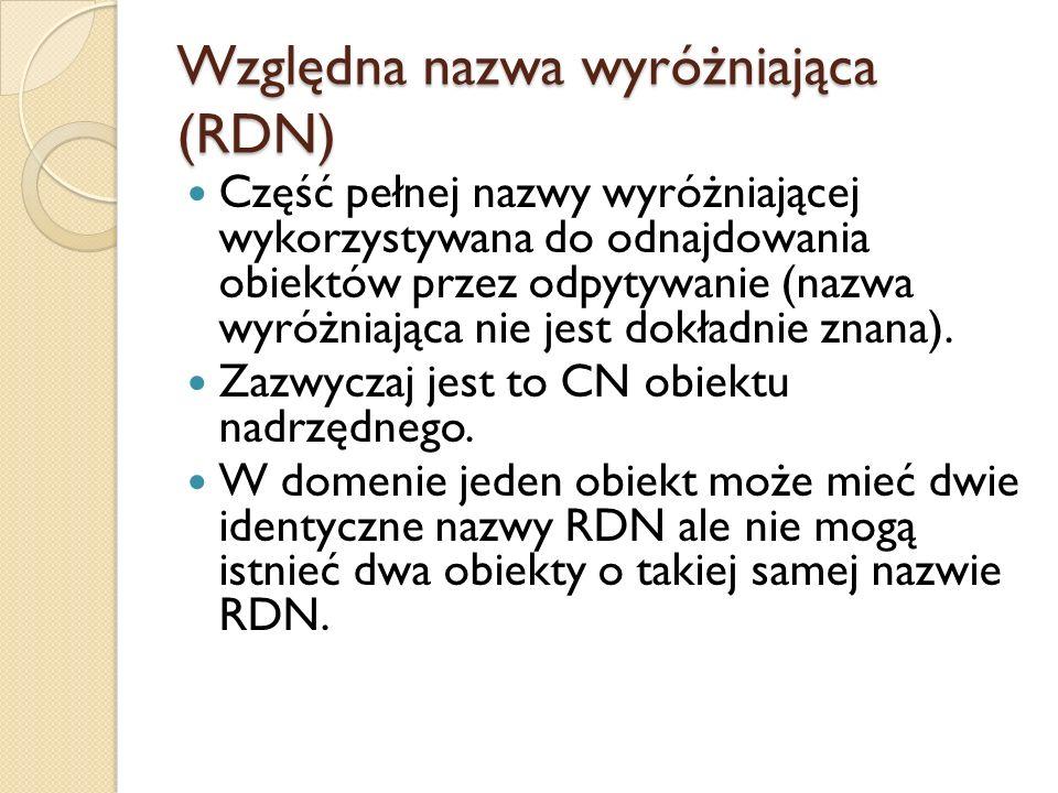 Względna nazwa wyróżniająca (RDN) Część pełnej nazwy wyróżniającej wykorzystywana do odnajdowania obiektów przez odpytywanie (nazwa wyróżniająca nie j