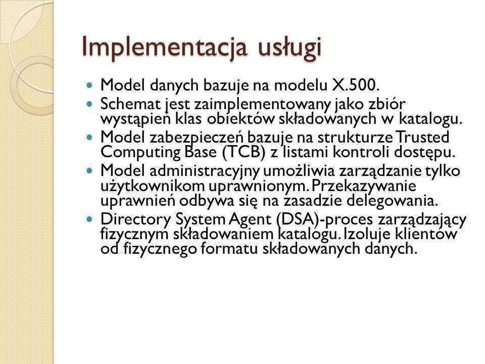 Implementacja usługi Model danych bazuje na modelu X.500. Schemat jest zaimplementowany jako zbiór wystąpień klas obiektów składowanych w katalogu. Mo