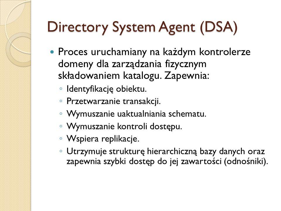 Directory System Agent (DSA) Proces uruchamiany na każdym kontrolerze domeny dla zarządzania fizycznym składowaniem katalogu. Zapewnia: Identyfikację
