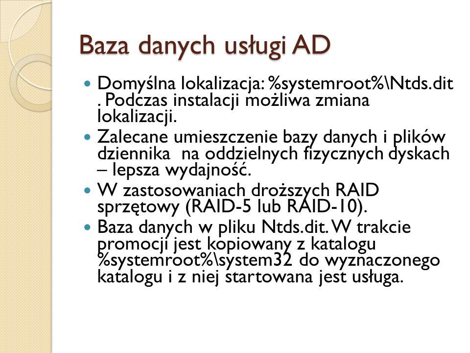 Baza danych usługi AD Domyślna lokalizacja: %systemroot%\Ntds.dit. Podczas instalacji możliwa zmiana lokalizacji. Zalecane umieszczenie bazy danych i