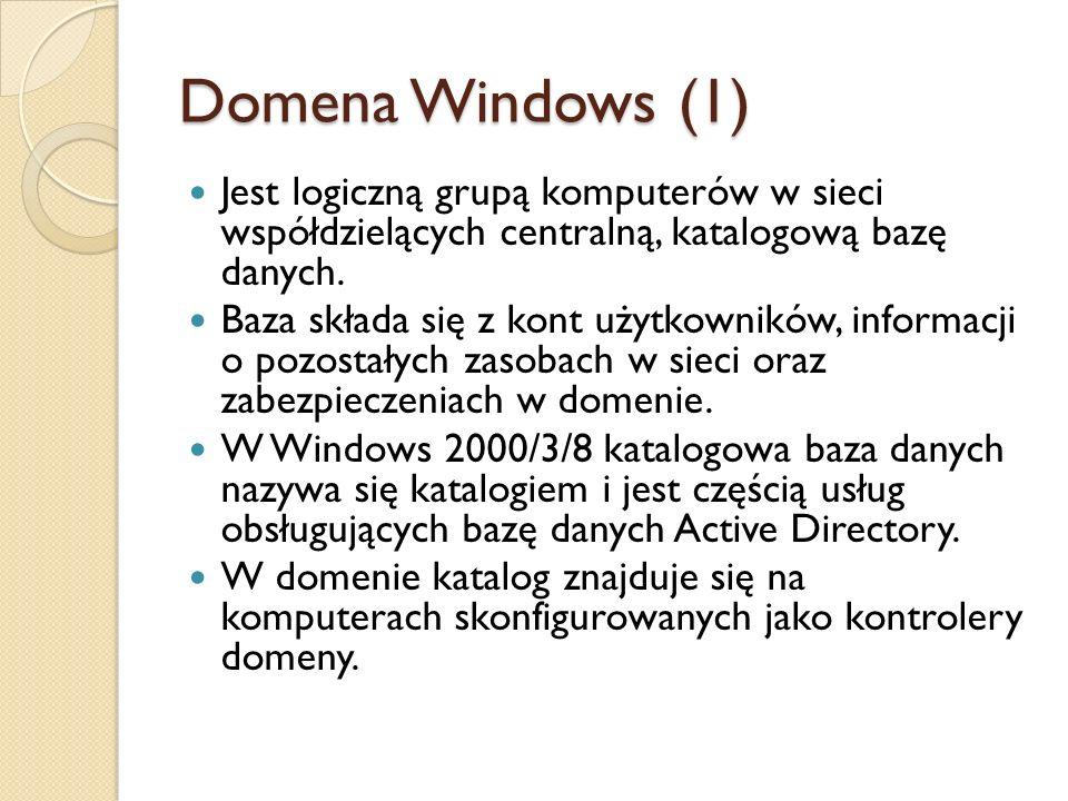 Domena Windows (1) Jest logiczną grupą komputerów w sieci współdzielących centralną, katalogową bazę danych. Baza składa się z kont użytkowników, info
