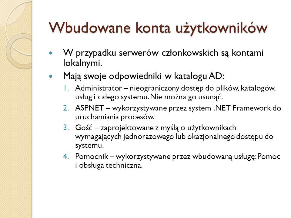 Wbudowane konta użytkowników W przypadku serwerów członkowskich są kontami lokalnymi. Mają swoje odpowiedniki w katalogu AD: 1.Administrator – nieogra