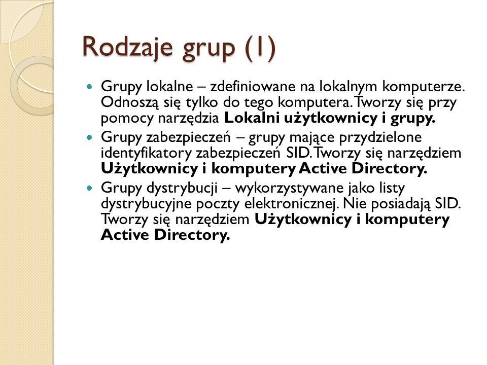 Rodzaje grup (1) Grupy lokalne – zdefiniowane na lokalnym komputerze. Odnoszą się tylko do tego komputera. Tworzy się przy pomocy narzędzia Lokalni uż