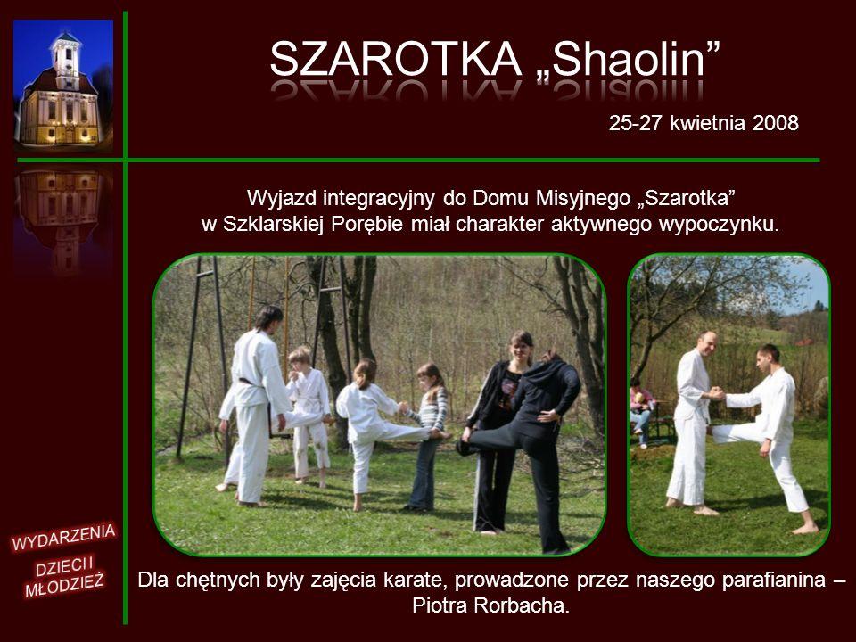25-27 kwietnia 2008 Wyjazd integracyjny do Domu Misyjnego Szarotka w Szklarskiej Porębie miał charakter aktywnego wypoczynku. Dla chętnych były zajęci