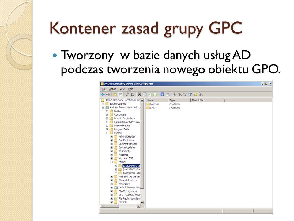 Atrybuty GPC GPC zawiera atrybuty, które opisują różne typy informacji dotyczących GPO.