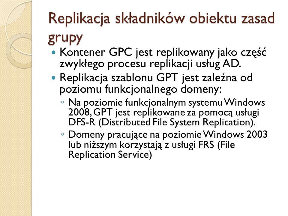 Replikacja składników obiektu zasad grupy Kontener GPC jest replikowany jako część zwykłego procesu replikacji usług AD. Replikacja szablonu GPT jest