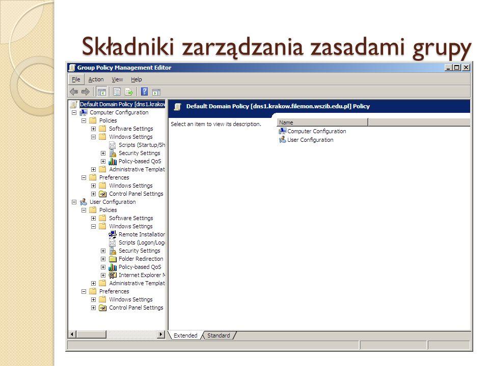 Kontenery zasad grupy (1) Policies (User, Computer Configuration) – zawierają kontenery Software Settings, Windows Settings oraz Administrative Templates.