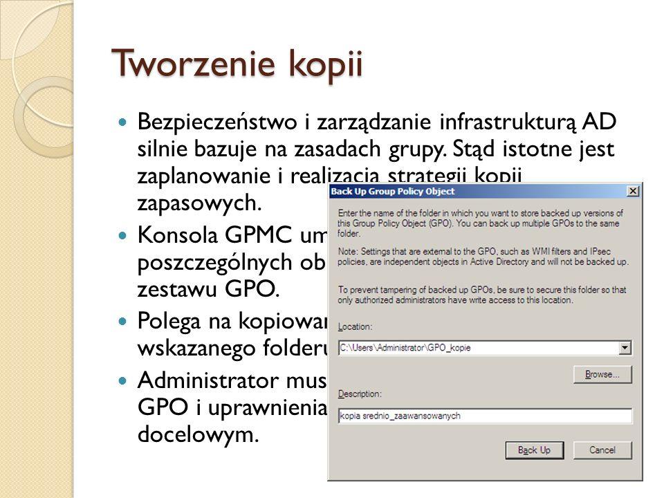 Przywracanie obiektów GPO Z konsoli GPMC.