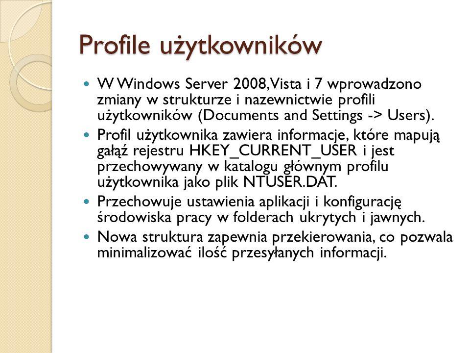 Profile użytkowników W Windows Server 2008, Vista i 7 wprowadzono zmiany w strukturze i nazewnictwie profili użytkowników (Documents and Settings -> U